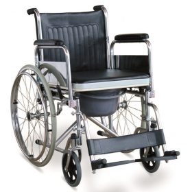 Commode Wheelchair With Flip Down Armrests & Detachable Footrests