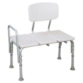 Adjustable Height Shower Transfer Bench With Armrests & Backrest
