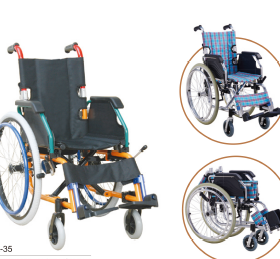Children wheelchair with drop back backrest handle