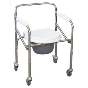 """Folding Commode Chair Price Folding Steel Commode Chair With Plastic Armrests & 3"""" Wheels"""