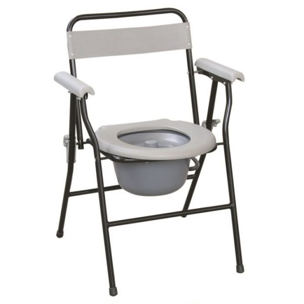 Folding Steel Commode Chair With Plastic Armrests & Backrest