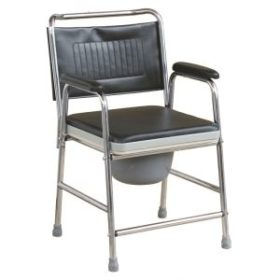 Steel Commode Chair With Padded Seat Panel & Armrests